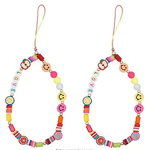 KFXD Smiley Face Beaded Phone Charm Strap, Fruit Smile Rainbow Color Phone Lanyard Wrist Strap, Cute Fashion Phone Chain Charm Accessories 2pcs