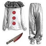 Disfraz de payaso asesino gris para niños y niños, disfraz de miedo de Halloween (medianos de 7 a 9 años)