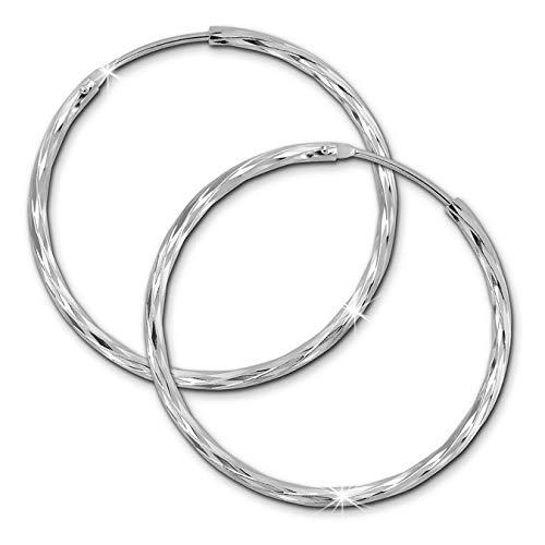 SilberDream Ohrringe 35mm für Damen 925 Silber Creolen glänzend SDO0083J
