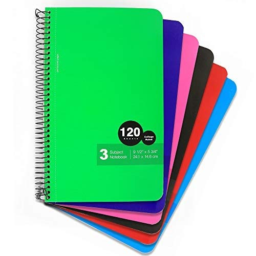 Emraw Top Bound Spiral Memo Books 120 Sheets College Ruled Wire Binding Meeting Notebook Durable Laminated Cover Assorted Color Wire Bound Double Sided Paper Small Notebook (6-Pack)