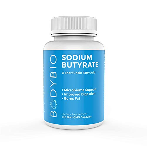 BodyBio Butyrate with Sodium - Supports Healthy Digestion, Gut & Microbiome - Increases Leptin Production for Appetite Control - No Fillers or Additives - 100 Capsules