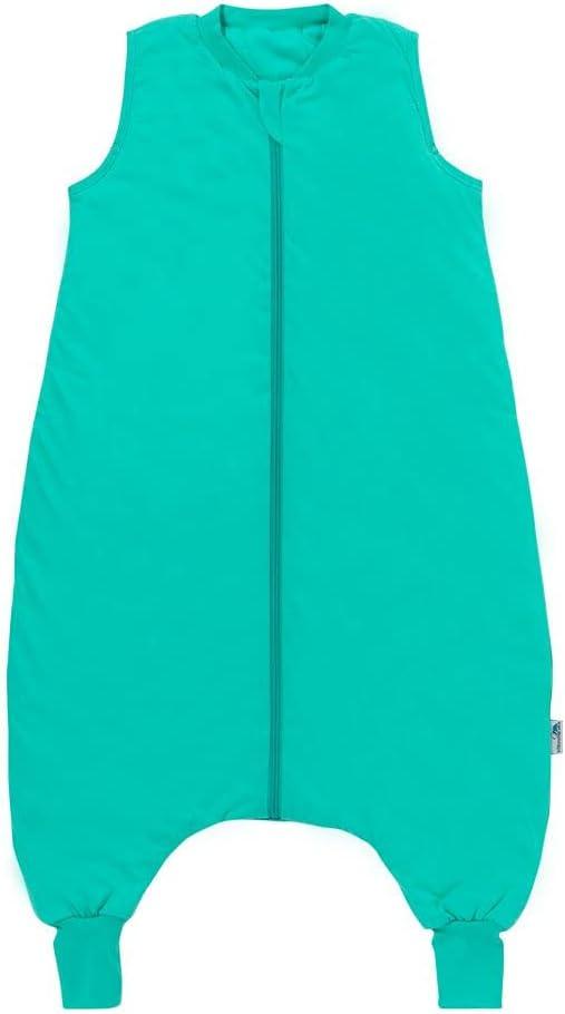 Schlummersack Saco de dormir prémium con pies, ligeramente forrado en 1.0 tog, turquesa, 110 cm, para una estatura de 110-120 cm
