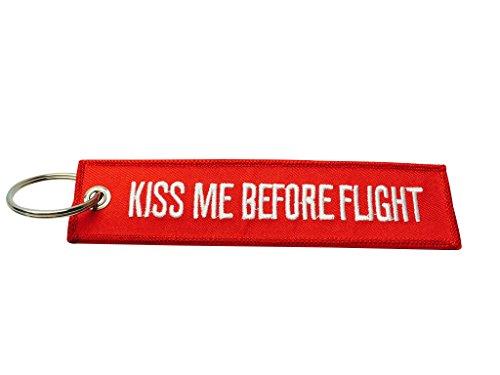 KISS ME before Flight Luggage tag/portachiavi/alta qualità, RED (Rosso) - AVM-KISS-RED