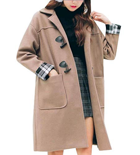 Women Loose Horn Warm Style Baggy Button Classic Merino Worsted Coat