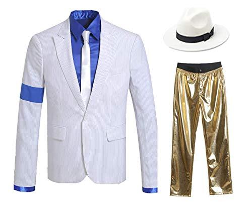 Chaqueta de Traje Blanca con Brazalete para niños y Adultos para Cosplay de Michael Jackson (Oro, 2XS)