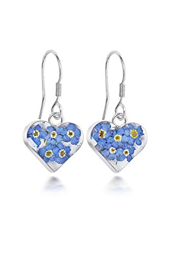 Sterling Silver Heart Drop Earrings Made With Real Forget Me Nots