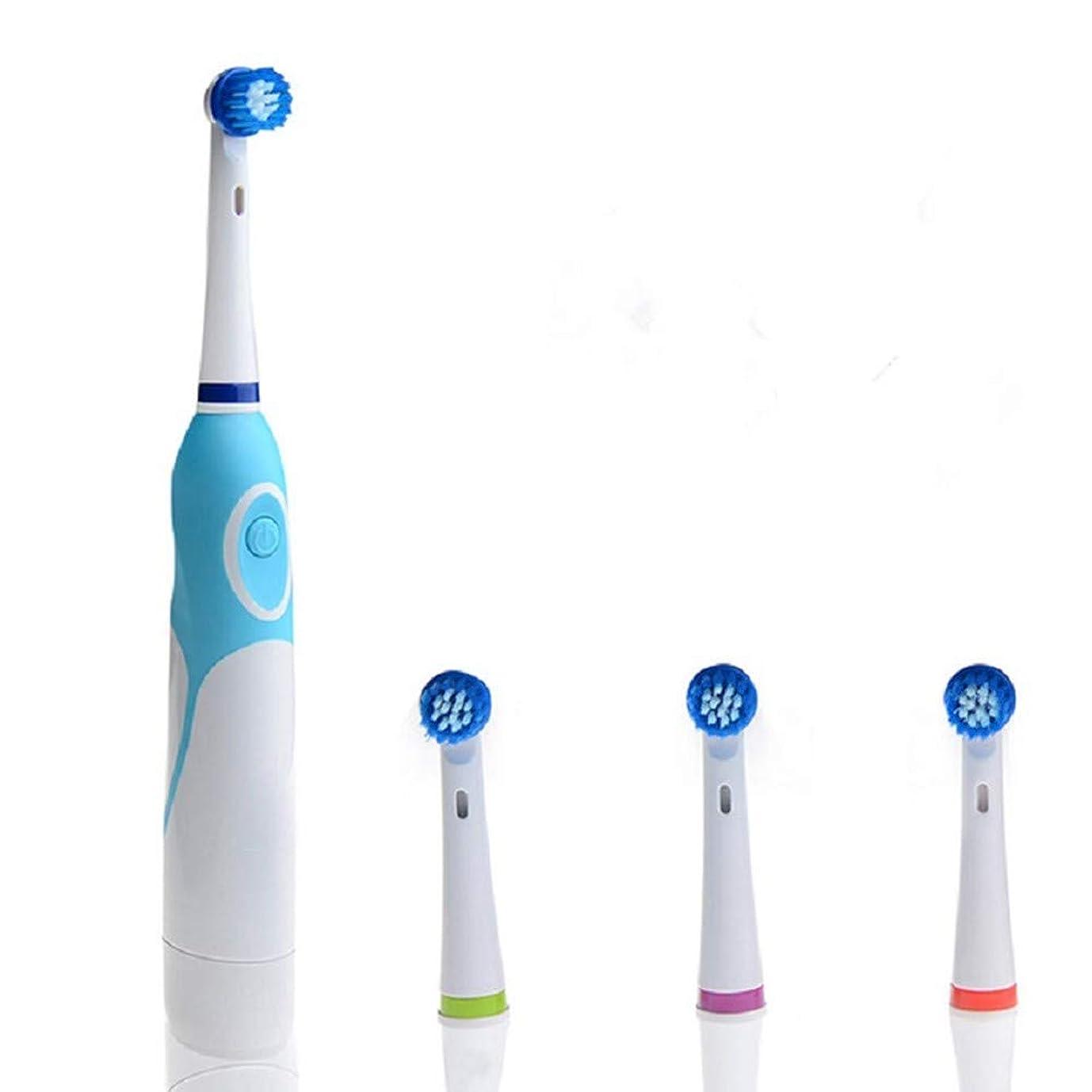 不完全ファイバ災難電動歯ブラシ電動歯ブラシ回転歯ブラシ4回転ヘッド付き口腔衛生オーラルディープクリーニング用大人用