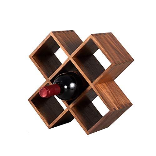 WJCCY Nuez de Madera sólida Estante de Vino Estilo japonés Hogar pequeño Creativo Botella de Vino Soporte Soporte Diagonal Colocado Adornos