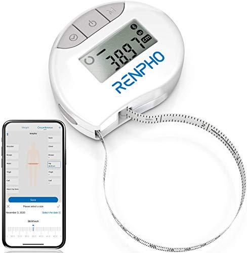 Cinta Métrica Inteligente con Aplicación: Cintas Métricas Bluetooth RENPHO para Medir el Cuerpo, Fitness, Retractable, Mide la Circunferencia de la Parte del Cuerpo, Pulgadas y CM