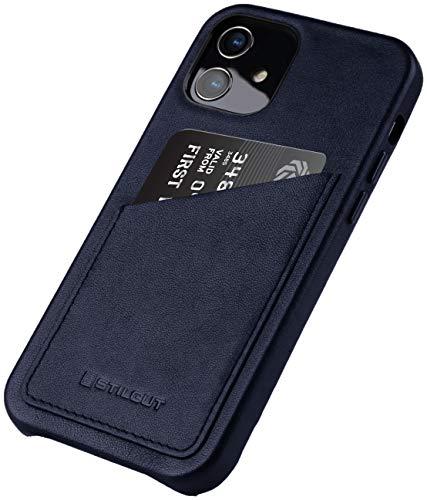 StilGut Cover kompatibel mit iPhone 12 Mini Hülle mit Kartenfach, Hülle aus Leder, Kartenhülle - Dunkelblau Nappa