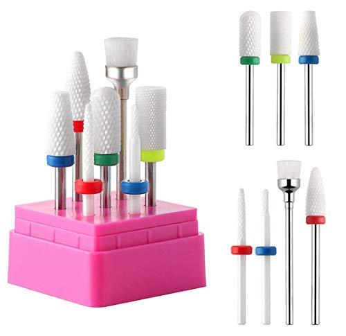 Makartt Ceramic Nail Drill Bit Set 7PCS 3/32' Safety Nail Drill Bits Remove Gel Polish Nail Gel Dip Powder Drill Bit Professional Bits Tools Nail File Drill Bit Manicure B-24
