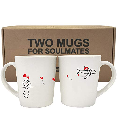 BOLDLOFT No Matter The Distance His and Hers Coffee Mugs- Long Distance Mugs, Long Distance Relationships Gifts, LDR Gifts, Couples Gifts, Gifts for Him Anniversary Gifts Boyfriend Gift Husband Gifts