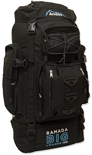 Andes Black Ramada 120L Extra Large Hiking Camping Backpack/Rucksack Luggage Bag