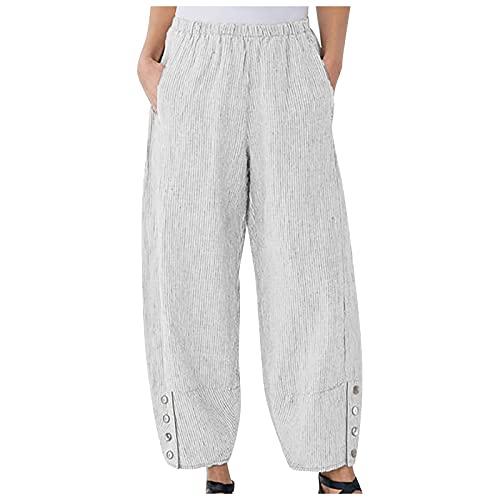 Leinenhose Damen Sommer Große Größen Leinen Hose Druck Freizeithose Jogginghose Loose Bequem Aladin Pants Yogahosen mit Weitem Bein