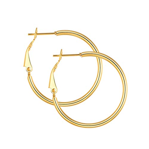 Gold Circle Earrings Women 30mm Simple Round Hoops