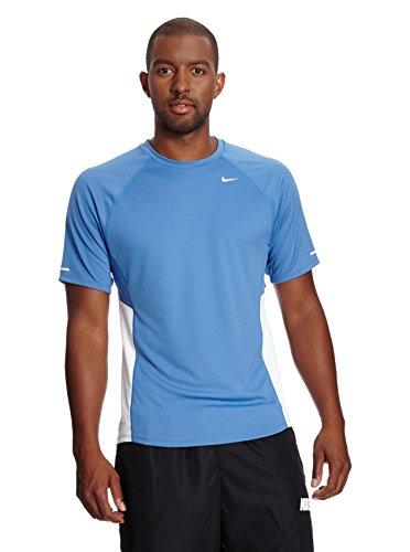 Nike Miler Maglietta da corsa da uomo a maniche corte con protezione UV, Blu/Bianco, XL