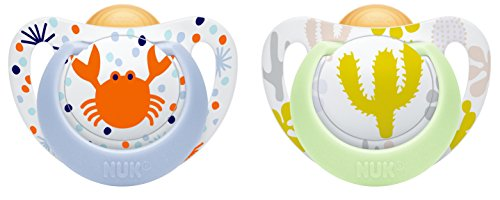 NUK 10171090 Genius Color Latex-Schnuller, kiefergerechte NUK Form, zahnfreundlich, 0-6 Monate, BPA frei, 2 Stück, Girl