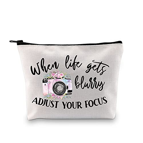 MBMSO Photographer Makeup Bag when Life gets Blurry Adjust Your Focus Photography Lovers Gifts Inspirational Gifts (when Life gets Blurry Adjust Your Focus)