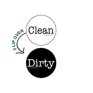 2  Double Sided Round Dishwasher Flip CLEAN & DIRTY Premium 50 mil Dishwasher Magnet. MADE in USA (Black & White)