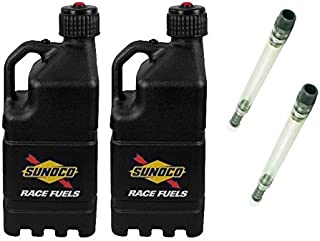 2 Pack Sunoco 5 Gallon Black Race Utility Jugs and 2 Deluxe Filler Hoses