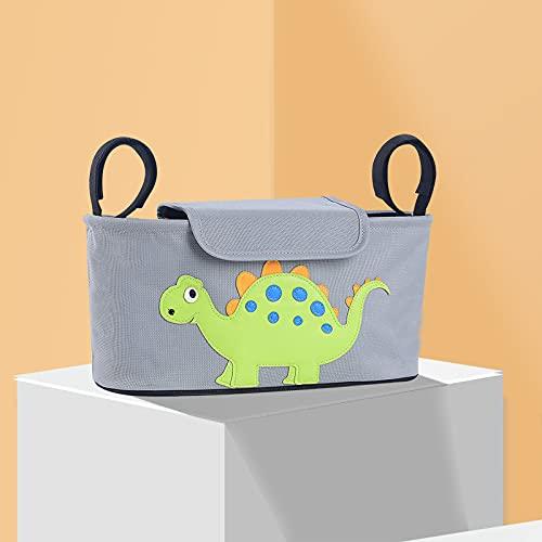Kinderwagen Taschen Organizer mit Deckel, Kinderwagentasche Universal Buggy Bag, Verdickt Wasserdicht, Einfach zu Säubern, Pram Organiser (Dinosauriermuster)
