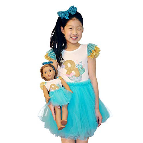 ZITA ELEMENT Girl Matching Doll Clothes Outfits - 2 Sets Clothes and Hair Accessories for American 18 Inch Girl Doll and Girls - 2 Shirts Jumpsuits, 2 Tutu and 2 Sequin Bowknot Hairbands