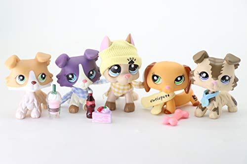 WOLFGIRL LPS Great Dane 1647 Tan LPS Collie 272 1676 2210 LPS Dachshund 2597 Blue Eyes Dog Puppy with Accessories Lot Figure Collection Kids Girls Boys Birthday Xmas Gift