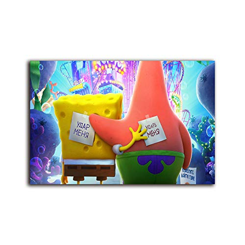 Megiri wall art for living room the spongebob movie sponge on the run in ,Print On Canvas Giclee Artwork for Wall Decor 36x24 inch