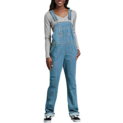 Dickies Women\'s Denim Bib Overall, Medium Stonewash w/Bleach, X-Small