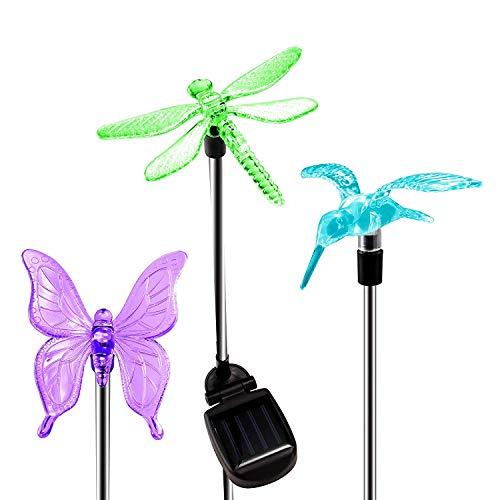KANYEE 3 Pcs Energía Solar Butterfly Colibrí Libélula Led Cambio de Color Luces de Juego Exterior Impermeable Jardín Patio Patio Césped Flor Cama Paisaje