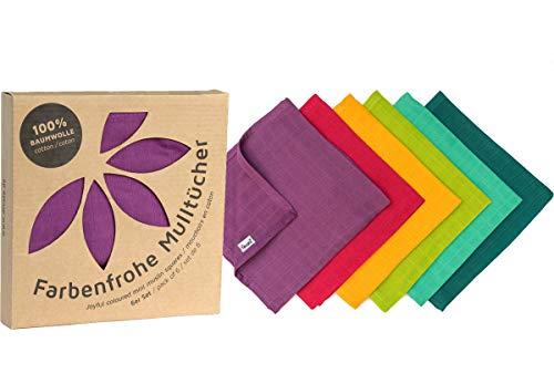 divata bunte MINI Mulltücher 6er Set Rainbow, ca. 35x35 cm - kleine, farbige Baby Spucktücher, Mull-Waschlappen, Oeko-Tex-Zertifiziert
