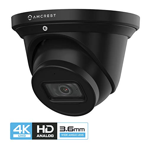 Amcrest ProHD 4K Dome Outdoor Security Camera, 4K (8-Megapixel), Analog Camera, 164ft Night Vision, IP67 Weatherproof Housing, 3.6mm Lens, 87° Narrow Angle, Built-in Microphone, Black (AMC4KDM36-B)