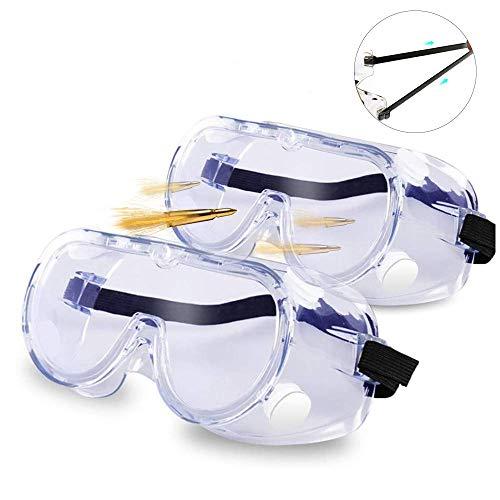 Gafas Protectoras Gafas de Seguridad de Obra gafas Prevención Polvo Prueba de Impacto Arena a Prueba de Viento Para Anti Salpicaduras para Laboratorio, Agricultura, Industria (2 Par)