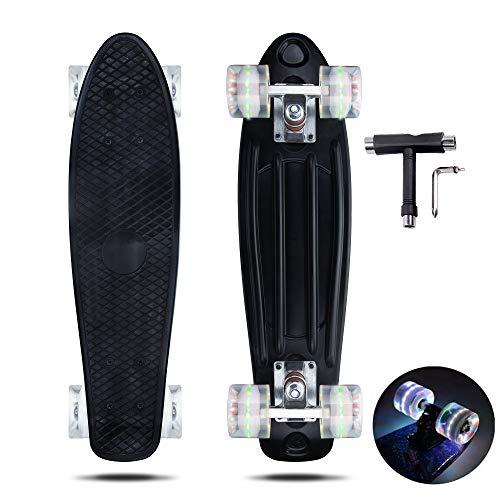 VERNBRIN Skateboards Mini Cruiser Retro Skateboard, komplettes Kunststoff Skateboard Penny Board 22 Zoll für Anfänger Teenager Erwachsene, LED Leuchten Räder mit All-in-One Skate T-Tool (03)