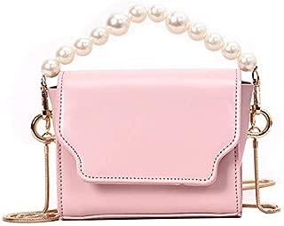 TOOGOO Women'S Shoulder Messenger Bag Wild Small Square Bag Flip Chic Chain Bag Female Pearl Tote Pink