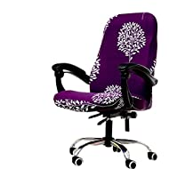 Deisy Dee Computer Office Chair Covers for Stretch Rotating Mid Back Chair Slipcovers Cover ONLY Chair Covers C162 (Purple Tree)