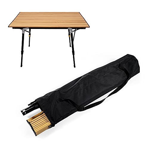 Kotesoto テーブル キャンプ 折りたたみ アウトドアテーブル 昇降式ロールテーブル コンパクト 軽量 高さ調整(46CM-70CM)アルミ製 耐荷重30kg 収納バッグ付き 組立簡単 90.5×52×70cm /4.8kg 木目 (90.5×52×