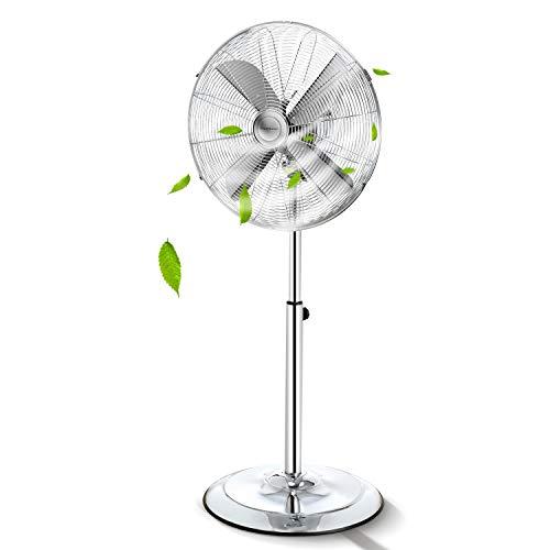 Aigostar Emery- Ventilatore acciaio, Ventilatore a piantana con oscillazione a 90°, altezza regolabile, 3 velocità, 60 W, 40 cm, maniglia per trasporto, griglia di sicurezza per bambini.