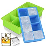 ACMETOP Large Ice Cube Trays, 2 Pack Silicone Ice Trays with Lid, Flexible 16 Ice Cube Molds BPA Free for Whiskey, Cocktail, Stackable, Durable & Dishwasher Safe