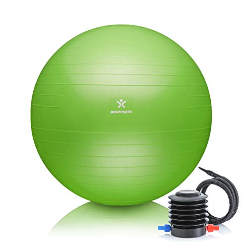 BODYMATE Gymnastikball mit GRATIS E-Book inkl. Luft-Pumpe Lime-Green 75cm