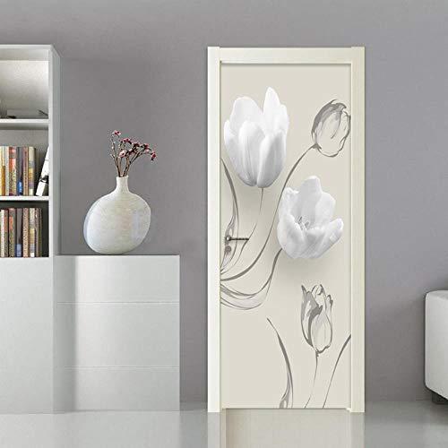 FCFLXJ Porta murale PVC Adesivo per porte Autoadesivo Fiore bianco vinile HD stampa Applique Porta a muro decorazione famiglia camera da letto Soggiorno la porta decorazione impermeabile 95X215CM
