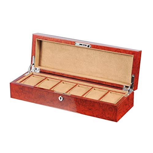 Caja De Reloj De Madera Caja De Mesa De Pintura para Piano Caja De 6 En Red Lockable 6 Cuadradas Reloj MecáNico Reloj De Cuarzo Caja De ColeccióN De Almacenamiento Regalos Unisex