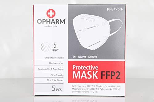 Opharm FFP2 Maske : 5 lagige Atemschutzmaske, weiß, 5 Stück