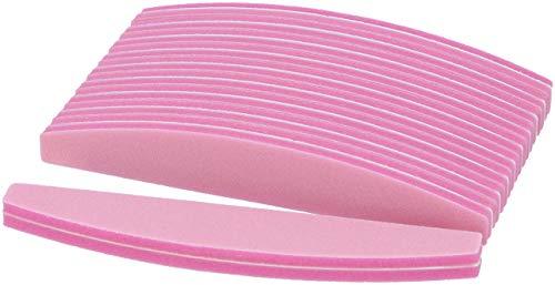 99nails 50 Stück Profi Buffer Nagelfeile Trapez Halbmond Feile Pink Nagelstudio Buffer Feile 100/180 Körnung Profibuffer