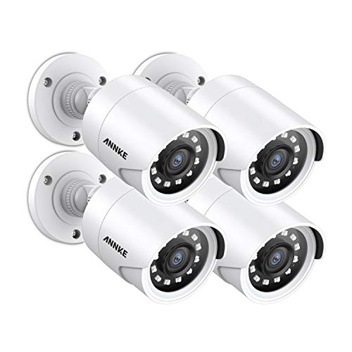 ANNKE (4 Packed) Outdoor Security Camera Kits HD TVI Add-on 1080P Weatherproof Bullet Cameras with IR Night Vision