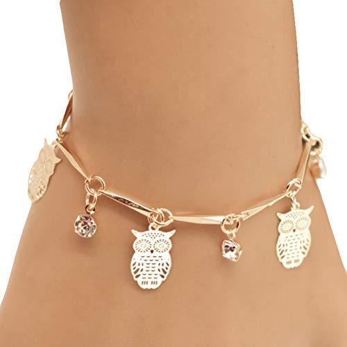 bestoyard búho pulsera Mode charmant pulsera Junco exquis Bijoux regalo para mujer niñas (oro)