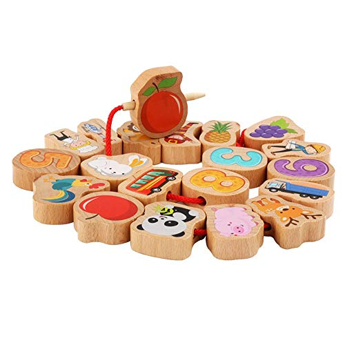 Best Bargain Blocks Large Lacing Bead Set for Kids Educational Stringing Toy-Large Wooden Fruit Bloc...