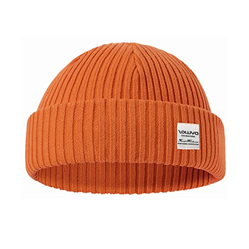 zowya Fisherman Beanie or Regular Cuff Knit Beanie for Men & Women Warm 2 in 1 Rib Watch Cap Gift Skull Cap Winter Ski Hat for Daily, 1 Hat 2 Style (Orange)