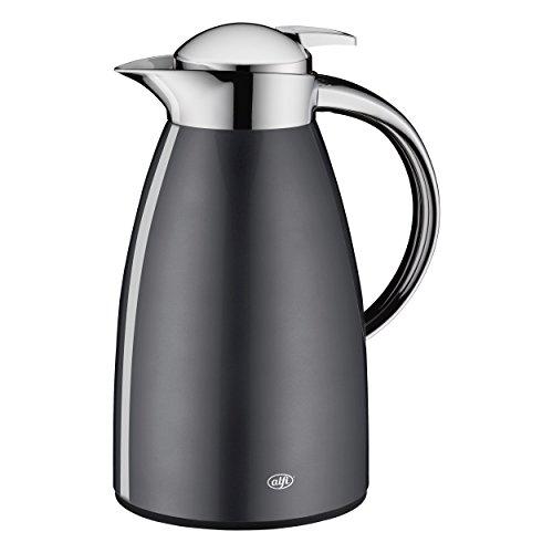 alfi Teekanne Signo, Thermoskanne Metall grau 1L, mit alfiDur Glaseinsatz, 1421.268.100, Isolierkanne hält 12 Stunden heiß, ideal für Tee oder als Kaffeekanne, Kanne für 8 Tassen