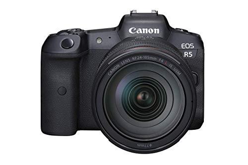 Canon EOS R5 Full Frame Mirrorless Camera + RF 24-105mm F4 L is USM Lens Kit, Black (4147C013) (Renewed)